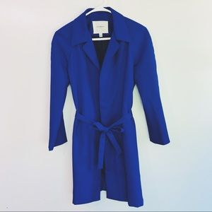 Isaac Mizrahi NY Blue Trench Coat Long Womens S